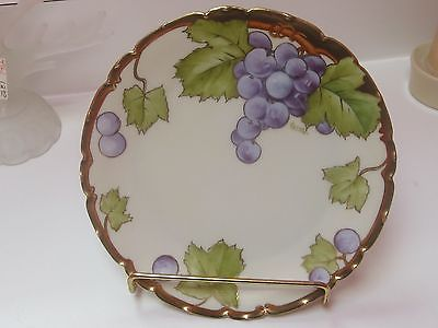 1900-1940 CARION ART NOUVEAU BAVARIA PORCELAIN PLATE>PURPLE GRAPES DESIGN>81/4