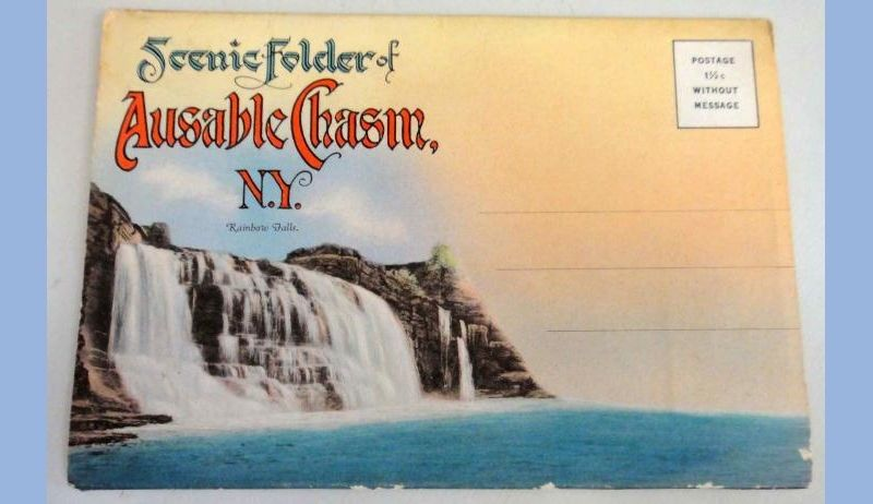 antique SCENIC POSTCARD FOLDER ausable chasm ny RAINBOW