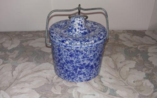 Blue Spongeware Ceramic Crock w/ Snap Lock Lid