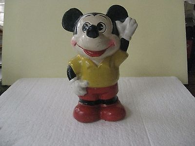 VINTAGE: Walt Disney's MICKEY MOUSE Glazed Ceramic Coin Bank (1970's)