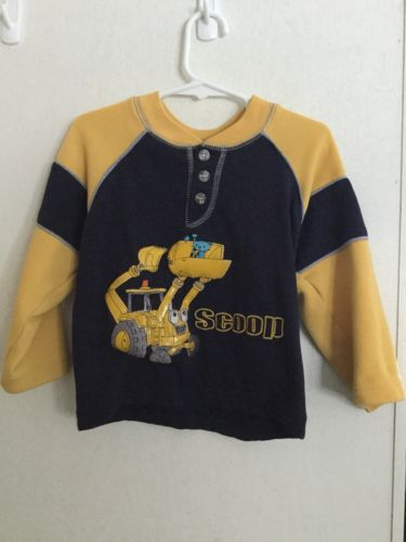 Bob the Builder Long Sleeve Henley Shirt Yellow Blue Size 3T Scoop Pilchard