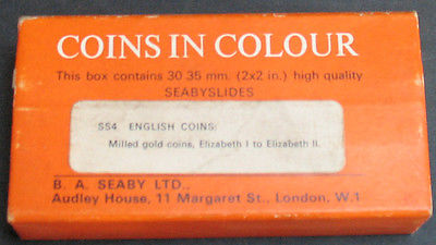 Vintage - English Coins In Colour - Milled Gold 30 Seaby Slides 35mm Rare