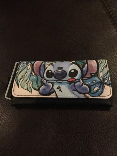 Disney Lilo And Stitch Canvas Watercolor Trifold Flap Wallet New With Tags!