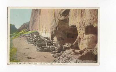 Cliff Ruins,Rito De Los Frijoles Pajarito Park New Mexico,Fred Harvey Phostint