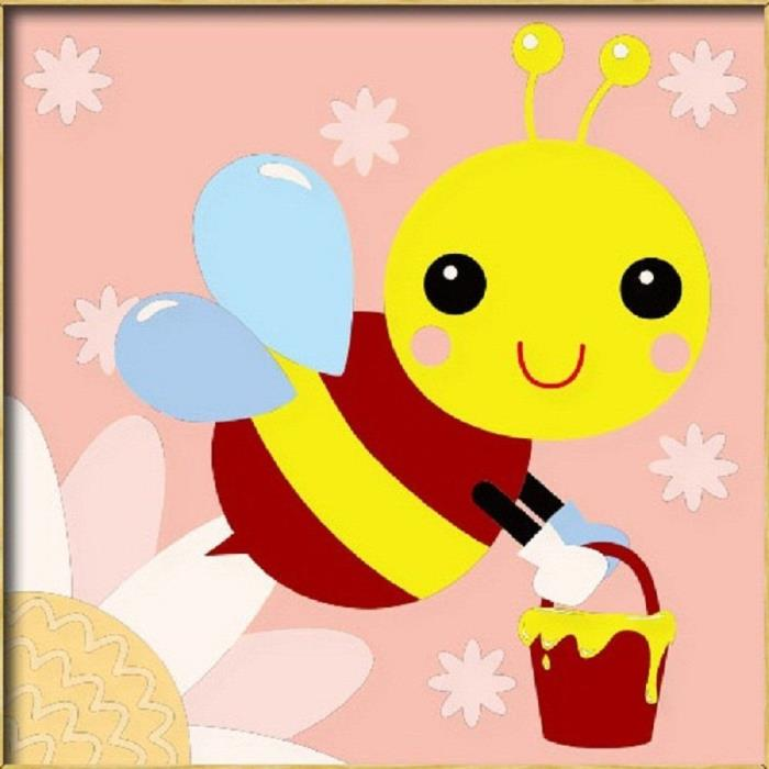 Diy oil painting, paint by number kits for kids - Yellow bee 8