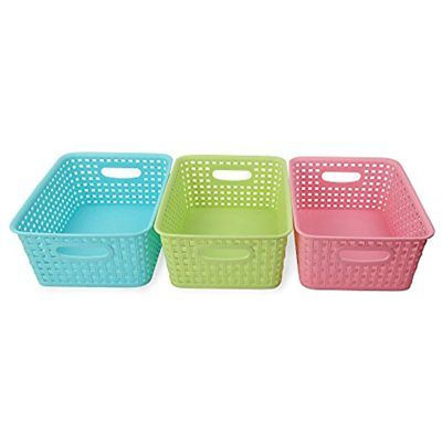 Nicesh Baskets Bins & Containers Plastic Storage For Household, Office Supplies,