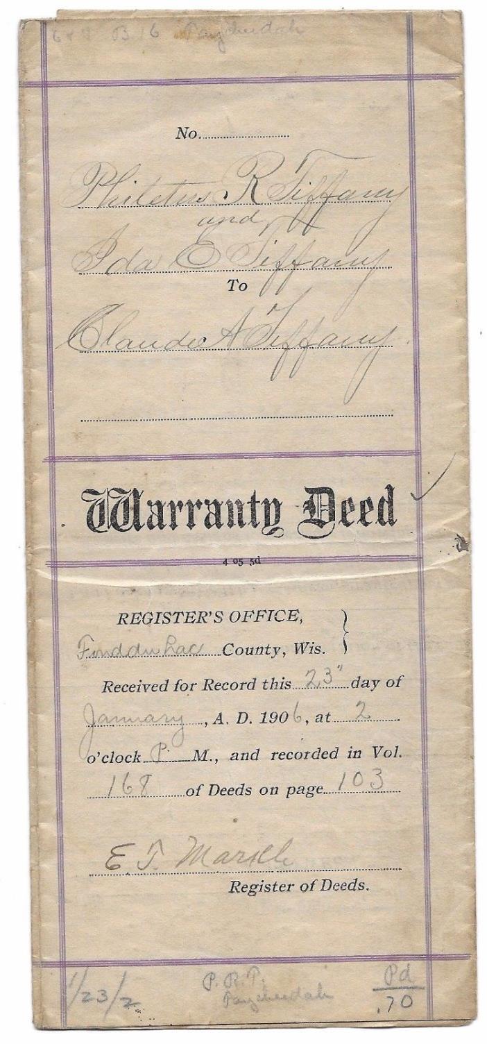 WARRANTY DEED,1906,FUNDULAC COUNTY,WISCONSIN