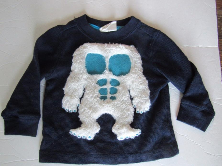 Crazy 8 Boy 6-12 Mo Thermal Long Sleeve Shirt 3D Furry Abominable Snow Monster