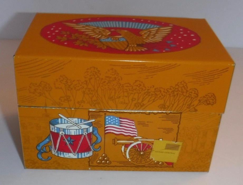 Vtg Patriotic Gold Recipe Box Syndicate Mfg. Eagle American Flag Alpha Dividers