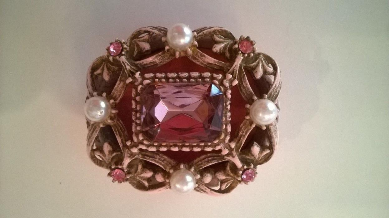 Florenza Pink Rhinestones Hinged Trinket Ring Box Faux Pearls Jeweled Vintage