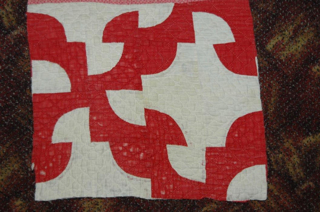 Primitive Valentine Red White Antique Drunkards Path Pattern Quilt Block Piece
