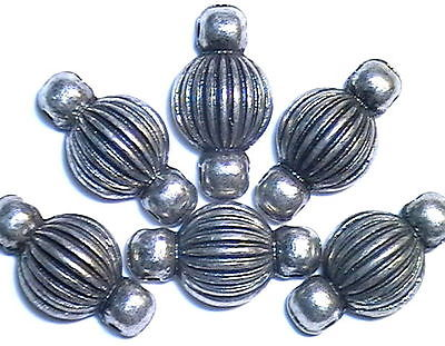 6 - 2 HOLE SLIDER BEADS ANTIQUED SILVER TONE FLUTED, RIBBED PUMPKIN SPACERS