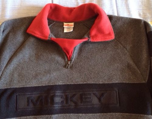 Mickey Mouse Men L Fleece Zip Pullover Gray Black Maroon Collar Disney Store