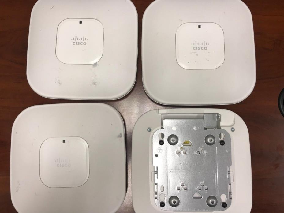 Lot of (4) Cisco Wireless Access Point AIR-LAP1142N-A-K9 w/(4) Mounting Brackets
