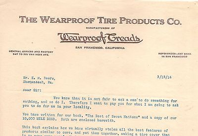 1916 The Wearproof Tire Company, San Francisco, California, Sales Letter