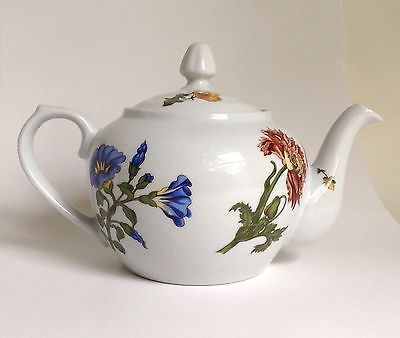 Vintage Cordon Bleu International BIA Ceramic Floral TEAPOT Hand Decorated USA