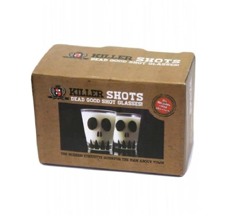 Killer Shots Dead Good Shot Glasses-Skull Face-Boxed Set of 2 Glasses