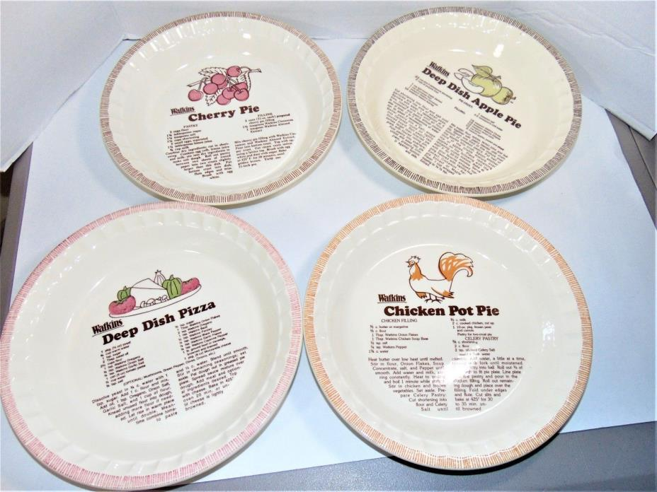 4 Watkins Pie Plates Cherry Pie Deep Dish Apple Pie Deep Dish Pizza Chicken Pot