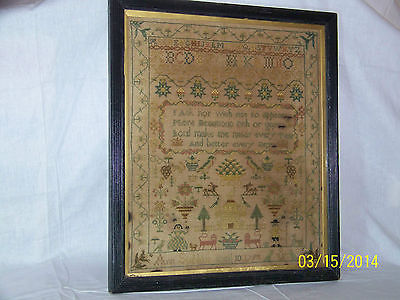 Major Antique c1798 Sampler by *Ann Subbing* Letters Figures Needle Work