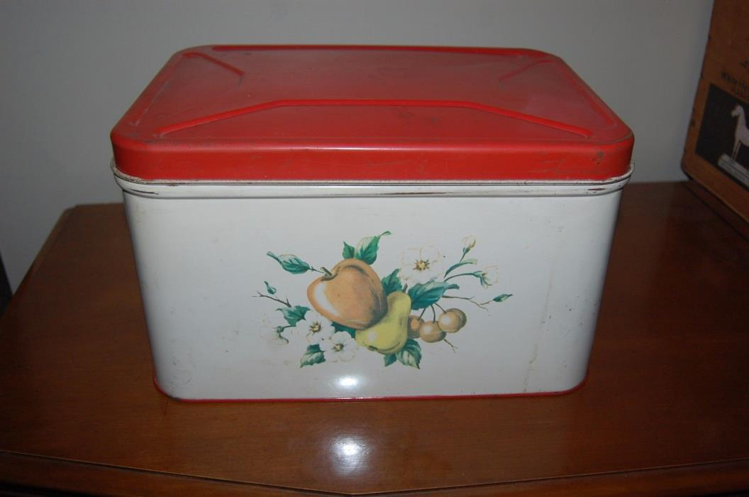 VINTAGE DECOWARE FRUIT TIN METAL  BREAD BOX STORAGE RETRO OLD APPLE PEAR 1950s