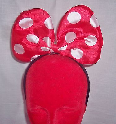 MINNIE MOUSE HOT PINK OR RED HEADBAND BOW EARS WITH FLASHING LIGHTS - NEW -B