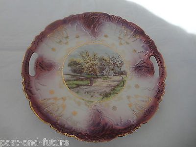 ANTIQUE PURPLE LUSTER COOKIE TRAY WITH PASTORAL SCENE, COTTAGE, ROWBOAT & WOMEN