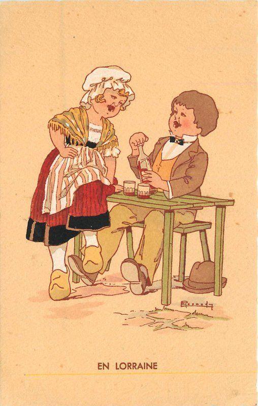 Artist impression 1920s French Children Lorraine Wine Renaudin postcard 12519