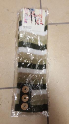 Womens Knit Leg Warmers Boot Cover Cuffs Socks Green Stripe ACE Self Expressions