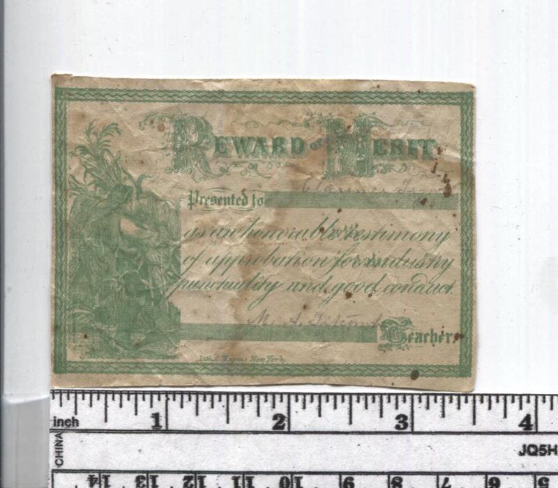 Antique Reward of Merit - Farmer - Lith. C. Magnus New York