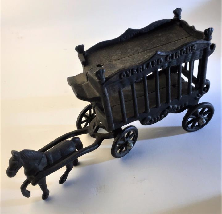 Vintage Cast Iron Toy Horse Drawn Circus Wagon
