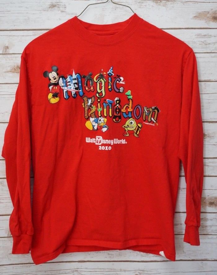 Disney World Magic Kingdom Large T Shirt 2010 Long Sleeve Red Mickey Donald Duck