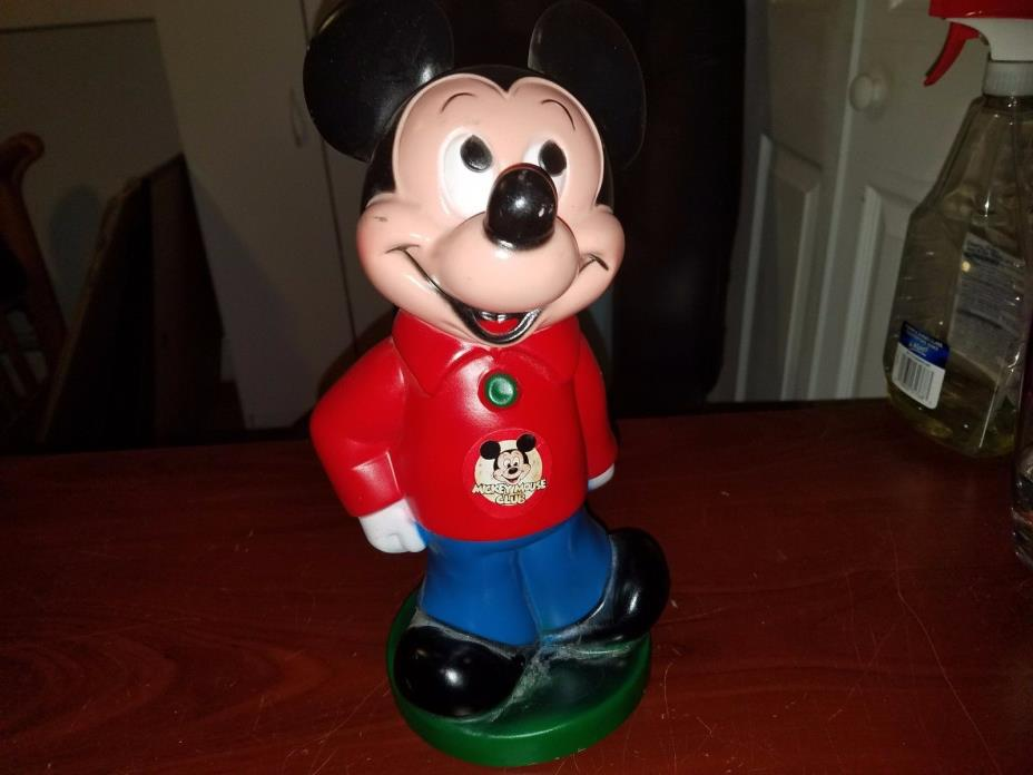 Vintage Mickey Mouse Club Piggy Coin Money Bank 1970 Play Pal Plastics