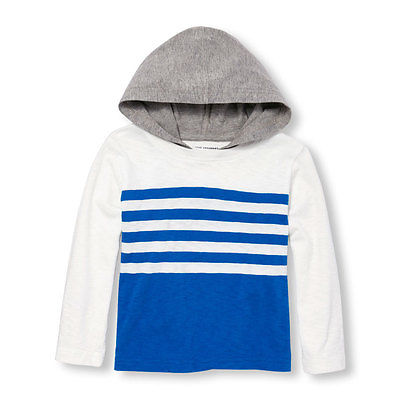 NWT CHILDREN'S PLACE SHIRT, LONG SLEEVE, HOOD, STRIPED, WHITE BLUE, BOYS, 18-24