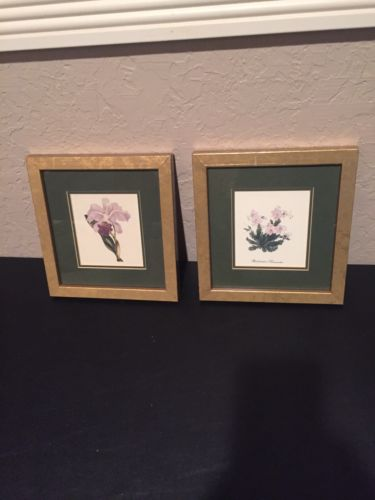 2 Wall Pictures Green With Gold Frame Rhododendron +
