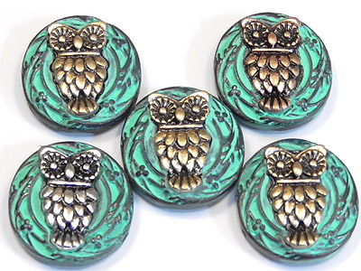 5 - 2 HOLE SLIDER BEADS MIXED METAL OWLS BIRD BEADS SILVER COPPER BRASS & PATINA