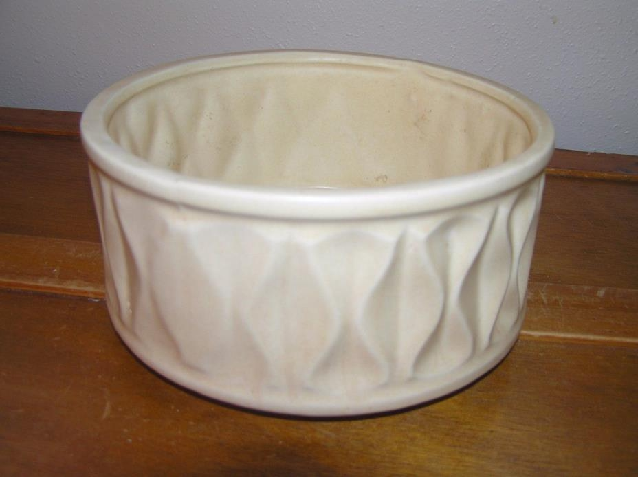 Vintage McCoy Signed & Numbered Pinched Sides Cream Glaze Shallow Pottery Pot