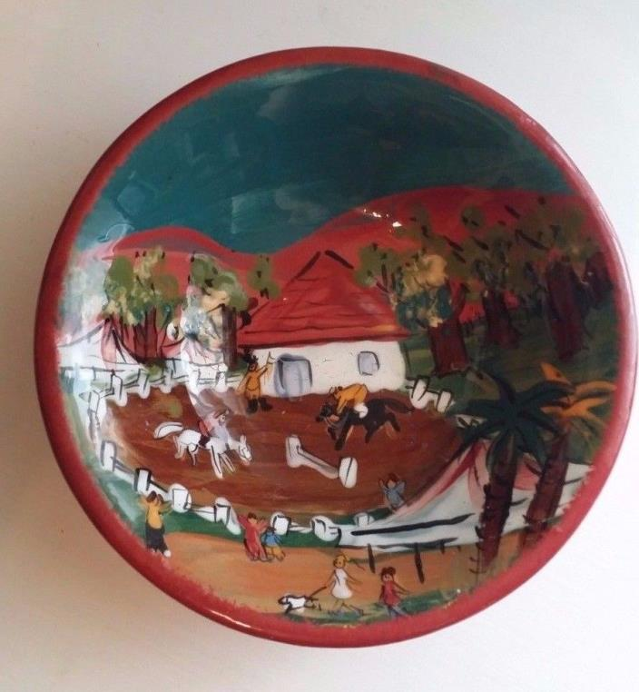 Ceramic Hand Painted Clay Bowl Signed Cesiti W/ English Horse Jumping Decoration