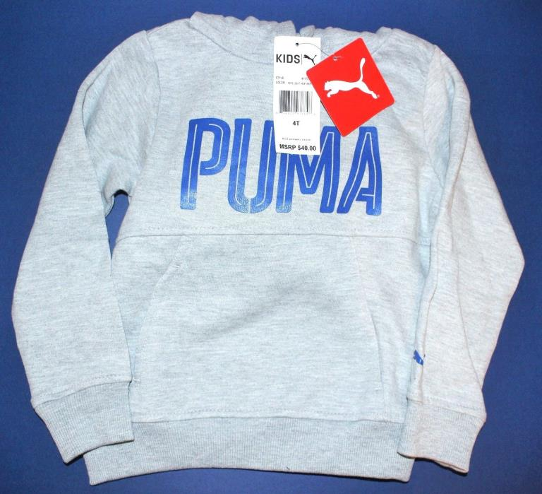 Boys 4T Hoodie Pullover hooded top PUMA Gray sweat shirt New $40