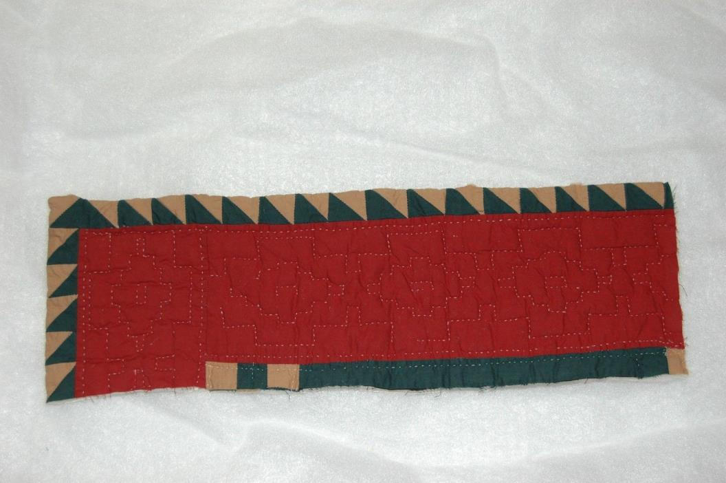 Primitive Christmas Craft Burgundy Green Tan 8 x 24 Quilt Strip Piece
