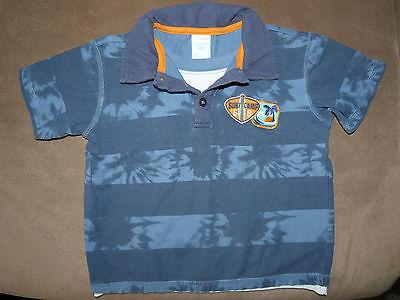 Boys 4T Wonder Kids Blue Faux Layer Polo Shirt S/S Excellent Condition