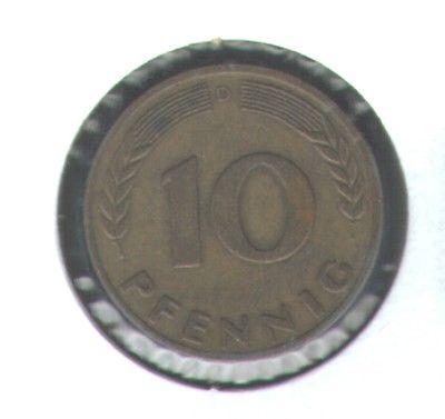 Old German Coin,  1949 D, 10 Pfennig - Nice Details