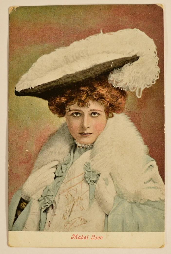 Antique 1906 Postcard Colored Valentines Series Women with Hat Mabel Love