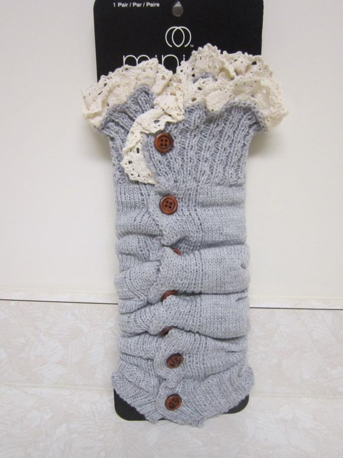 MINICCI Gray Crochet Sweater Button Lace Leg Warmers Boot Socks NEW!