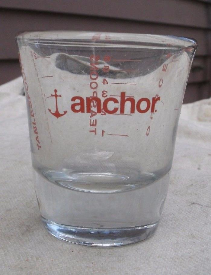 Vintage Anchor Hocking Shot Glass w/ Measurements,1980s,clear glass -barware