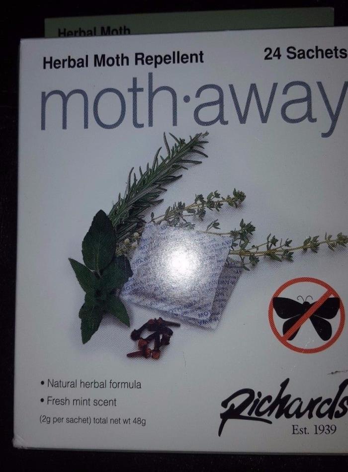 Richards Homewares Moth Away Sachets Nontoxic (White) (1-Pack of 24 Sachets) New
