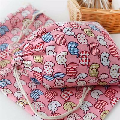 Elephant Print Draw Closure Cotton Storage Bag
