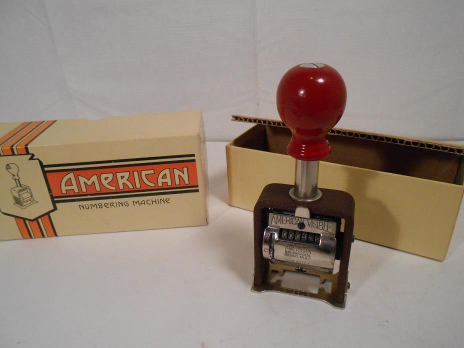 Vintage ' AMERICAN ' numbering machine 6 wheels Model 41 w/ BOX and Booklets