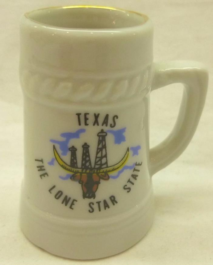 TEXAS, THE LONE STAR STATE-MINI SHOT GLASS-CERAMIC W/ GOLD TONE RIM-2
