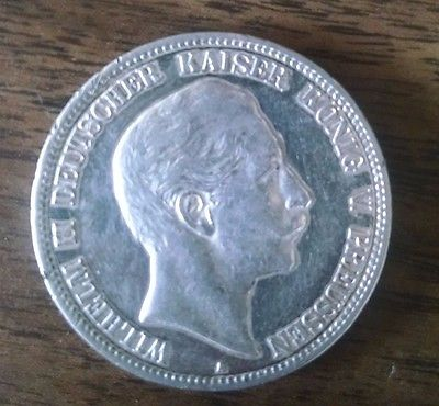 1904-A Germany states Prussia 5 silver Mark very attractive coin.