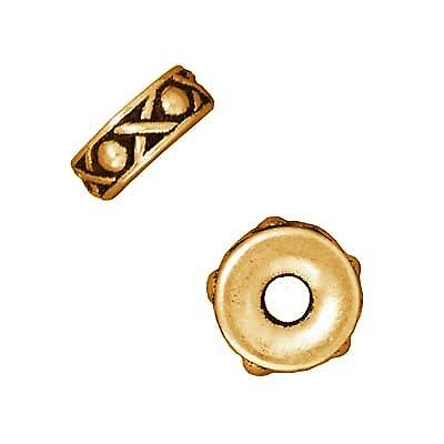 22K Gold Plated Pewter Legend Large Hole Spacer Beads 10mm (2)